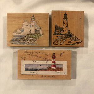 Lot Of 3 Lighthouse Rubber Stamps #80158 & #80199 & 1 More Preowned Good