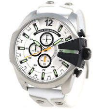 DIESEL Mega Chief Chronograph White Dial White Leather Steel Men's Watch DZ4454