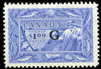 Stamp Canada Mint H 1949-50 $1.00 VF Overprinted G Scott #O27 Fishing