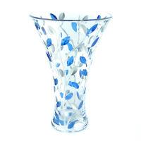 Vetro di Murano Vaso Blu Argento Fiore Fatto a Mano Millefiori 30cm Alto