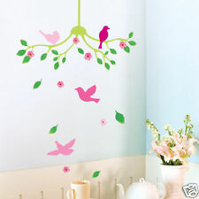 Pink Birds Flower Vine Tree Wall Stickers Art Decal Home DIY Decor Wallpaper UK