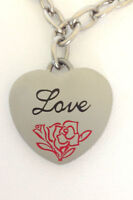 Women's Brushed Stainless Steel Hanging Love Heart Charm Bracelet 7 Inches