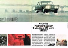 """PUBLICITE  1969   FIAT 125 """" SPECIAL""""  (2 pages)"""