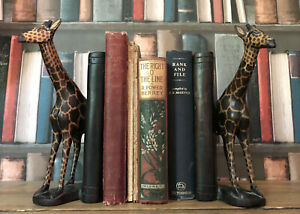 Antique Vintage Hand Carved Mahongany Wood Woodenware Treen Giraffe Bookends