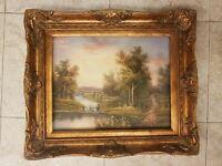 quadro dipinto a mano su tela cornice in legno foglia oro barocCO classico 61X71