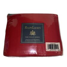 Vintage Ralph Lauren The Polo Sheet Red One Full Fitted Sheet 250 Thread Ct.