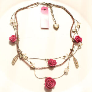 New Betsey Johnson Rose Charms Multi-Strands Necklace Gift Vintage Women Jewelry