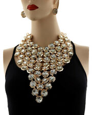 SPECTACULAR Statement Gold  Crystal Big Choker Necklace Set By Rocks Boutique