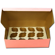 10 count Pink 12-Cupcake Boxes, 14x10x4 Pink Bakery / Cake Box with Inserts