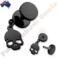 316L Surgical Steel Black Ion Plated Fake Ear Plug With Skull Dangle