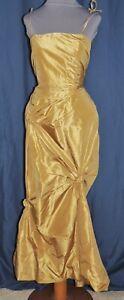 Pamela Dennis Gold Silk Taffeta Fishtail Gown w sequins SM