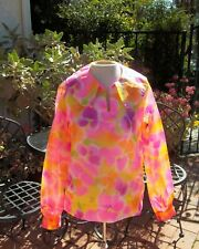 Vtg 60s Neon Chiffon Pink Floral  Resort Wear Shirt Top over sized  large Collar