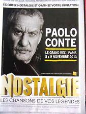 PUBLICITE RADIO   NOSTALGIE  PAOLO CONTE      EN 2013    REF 11675