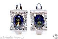 Elegante Mystic Quarz Ohrstecker 925 Sterling Silber Rhodoniert Geschenkidee