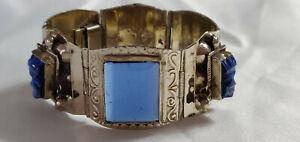 VINTAGE TAXCO 925 Sterling Silver & Blue Glass Aztec Mask Bracelet Mexico
