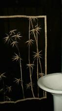 Dramatic Black Shower Curtain With Embroidered Bamboo Design in Golden Beige EUC
