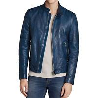New Soft Lambskin Motorcycle biker Genuine Leather Jacket Cafe Racer Vest 716
