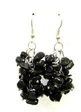 Black Onyx Stone Drop Earrings Silver Hook Chandelier Vintage Druzy Style 1096