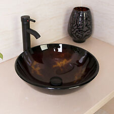 Modern Vessel Sink Drain Faucet Glass Bowl Basin Vanity Combo Round Tempered