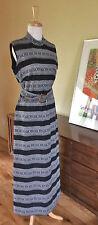 Vtg Black Silver Tribal Column Choker  Evening Dress Gown Hollywood Regency M