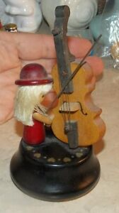 Vintage Wood Person FIgurine Large Cello Yesterday Music Box Collectible