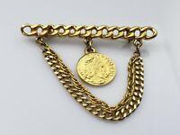 Vintage Roman Coin Charm Link Chain Bar Brooch Pin Gold Tone Metal Dangle Shiny