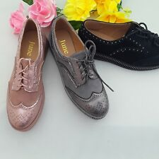 WOMENS LADIES LACE UP   BROGUES DIAMONTE WEDGE CREEPERS 0168-2