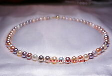 """AAAAA round 18"""" 9-10mm real natural south sea multicolor pearl necklace 14k gold"""