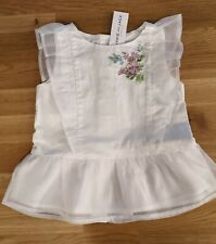 Janie and Jack Girl's Size 4 Floral White Spring Easter Top Shirt Embroidered