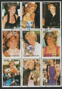 #1308 Princess Diana 10d S/S of 9, St. Thomas & Prince Islands CV $25.00