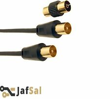 1m/2M/3m/5M -20 Meter HQ RF TV Aerial Coaxial Lead Gold Male Plug To Plug