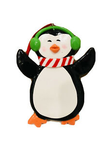 4 In Clay Penguin Christmas  Ornaments Wz Hanger