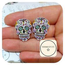Sugar Skull Stud Earrings 💜 Wooden 💀 Recycled Button ⭐ Halloween 25mm FLOWERS