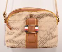 TOMMY HILFIGER Monogram Fabric Small Shoulder / Crossbody Bag, Natural