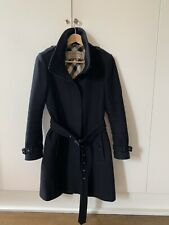 Burberry Black Wool Coat UK8 VGC