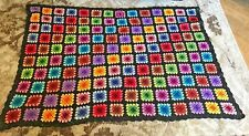 "Black Colorful Crochet Afghan/Throw/Bedspread Granny Squares 70"" X 50"""