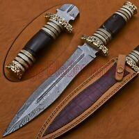 CUSTOM HANDMADE DAMASCUS STEEL HUNTING/ DAGGER KNIFE HANDLE HORN/BONE & RASS