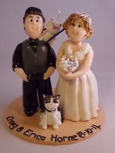 Personalised Wedding Cake Topper Bride and Groom, Unique handmade clay keepsake