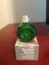 Avon Festive Facets Ornament (green glass) Cologne Decanter-Sweet Honesty - 1979