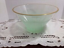 VINTAGE WEST VIRGINIA? GLASS BLENDO FROSTED MINT GREEN GOLD TRIM BOWL 1950-60's