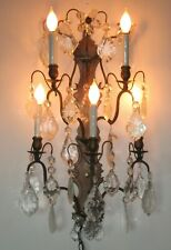 Vintage Electric Candle Sconce Wall Lamp with Glass Prisms
