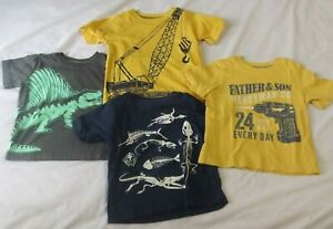 Pre-Owned Carters Set of 4 Toddler T-Shirts 18M  FATHER & SON Excavator DINOSAUR
