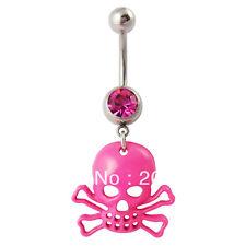 Un piercing nombril 1.6 mm tête de mort rose réf tetedemort100