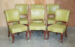 SUITE OF SIX ELEGANT EARLY VICTORIAN ANTIQUE WALNUT FRAMED DINING ROOM CHAIRS 6
