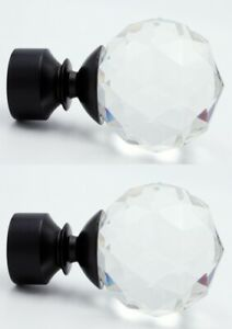 Pair Of 28mm Crystal Curtain Pole Mix & Match Finials. Black