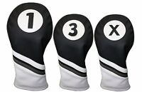 Majek Golf Headcover Black & White Leather Style 1 3 X Driver and Wood Covers