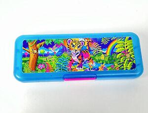"Lisa Frank Tiger Plastic Pencil Case Blue Jungle Forest Humming Bird Cub Baby 8"""
