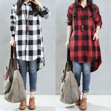 ZANZEA Women Button Down Tartan Top Blouse Plus Size Check Plaid Shirt Dress
