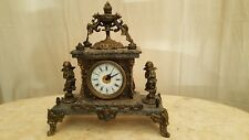 Great Old French Cupid Cherub Saxophone Griffin Lion Mantel Clock  Great Old Fr