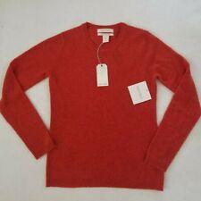 Ellen Tracy 100% Cashmere Sweater Pullover Long Sleeve Size S Orange Pumpkin